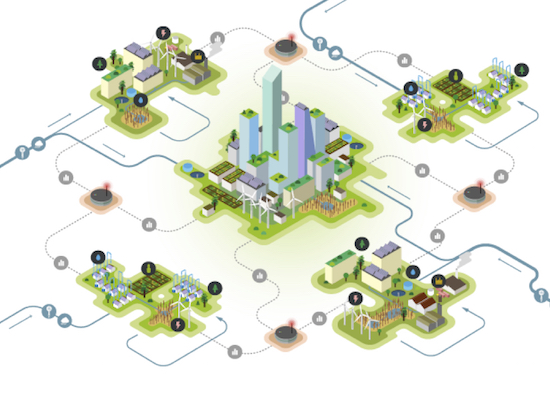 Water and Circular Economy Graphic - City center surrounded by farms and residential houses with interconnected lines from water supplies