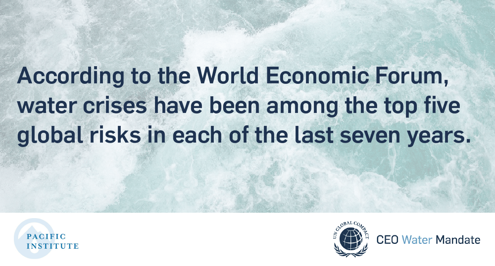 According to the World Economic forum, water crises have been among the top five global risks in each of the last seven years