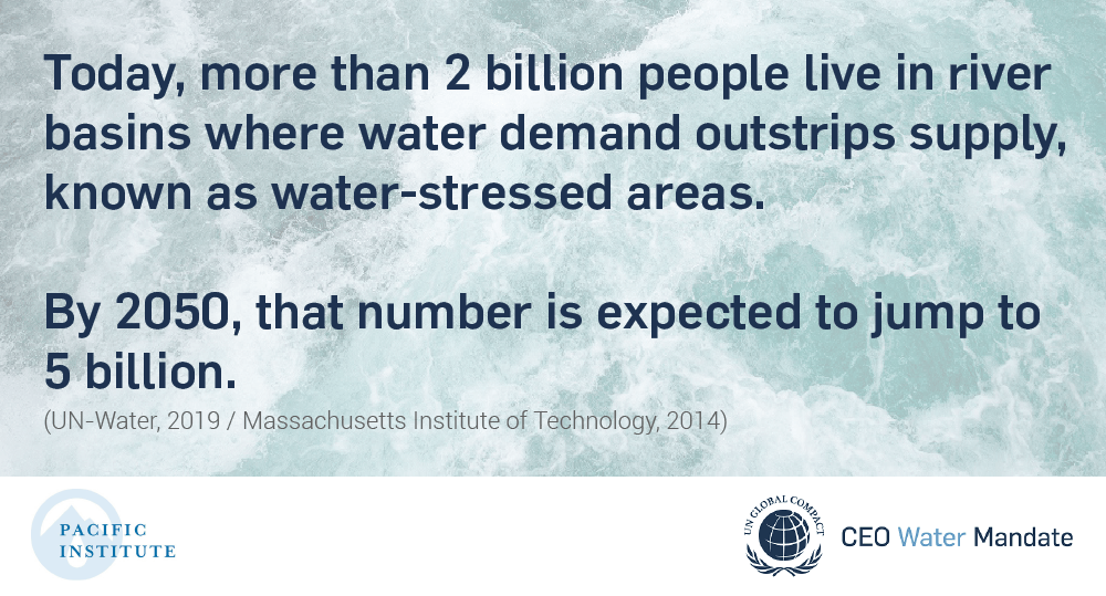 Today, more than 2 billion people live in river basins where water demand outstrips supply, known as water-stressed areas. By 2050, that number is expected to jump to 5 billion.