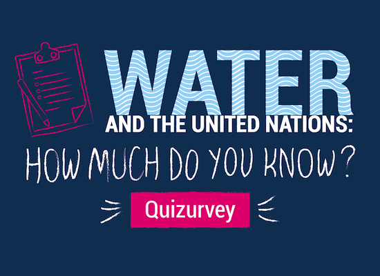 Text: Water and the United Nations - How much do you know - Quiz Survey