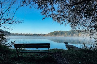 bench over looking a lake