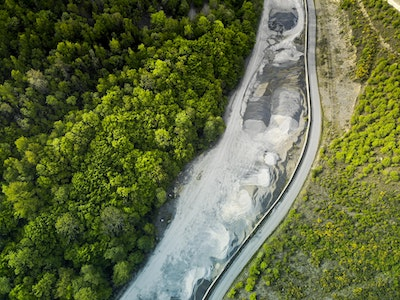 arial view of green trees, a road, and water flowing