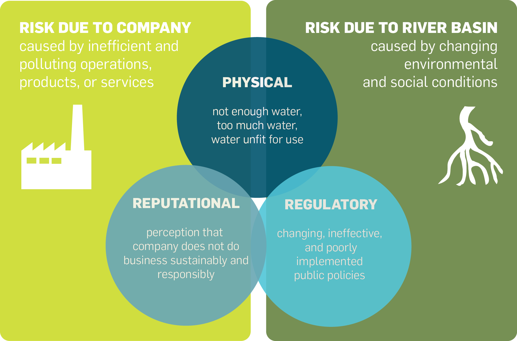 risk due to company and river basin graphic