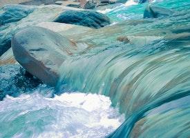 water falling over rocks
