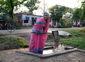 Sapna and Kanchan collect data on water usage from their village.